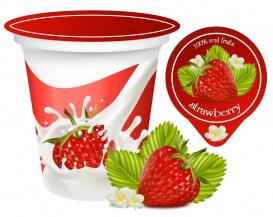 Vectorlib RF (Standard License): Vector. Red ripe  strawberry with leaves and flowers.Background for design of packing yogh...