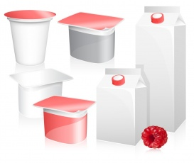 Vectorlib RF (Standard License): Vector set of blank milk and yoghurt packs with photo-realistic ripe raspberry.