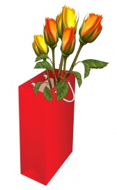 Vectorlib RF (Standard License): Gift red bag with roses