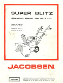 Download the Home and Garden eBooks | Jacobsen Super Blitz Snow Blower Operator's Manual