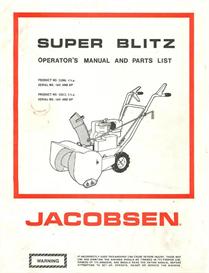 Jacobsen Super Blitz Snow Blower Operator's Manual | eBooks | Home and Garden