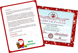 Santa Letter Combo - Claus and Reindeer with Red Certificate | Other Files | Patterns and Templates