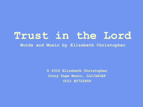 First Additional product image for - Trust in the Lord - lead sheet