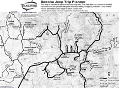 sedona trip planner 4x4 jeep trail overview bw map printable pdf