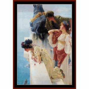 a coign of vantage - alma tadema cross stitch pattern by cross stitch collectibles