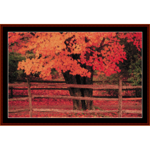 autumn tree - nature cross stitch pattern by cross stitch collectibles