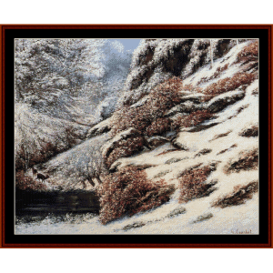 Deer in Snowy Landscape - Courbet cross stitch pattern by Cross Stitch Collectibles | Crafting | Cross-Stitch | Animals