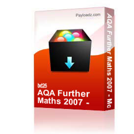 AQA Further Maths 2007 - Model Answers | Other Files | Documents and Forms