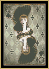 Queen Of Clubs - Mirrored | Crafting | Cross-Stitch | Other