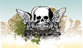 winged skull vector illustration