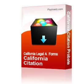 California Citation Probate | Other Files | Documents and Forms