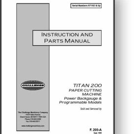 Challenge Titan 200 Paper Cutter Operator's Manual | Other Files | Documents and Forms