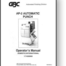 GBC AP-2 Automatic Punch Operator's + Parts Manual | Other Files | Documents and Forms