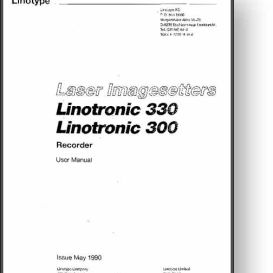 Linotype Linotronic 300 / 330 Laser Imagesetter Manual | Other Files | Documents and Forms