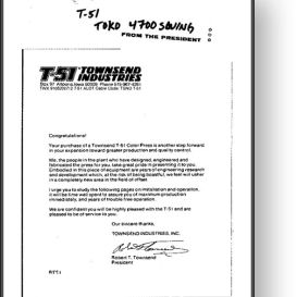 Townsend Industries T-51 T-Head for Toko 4700 - Manual | Other Files | Documents and Forms
