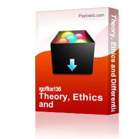 theory, ethics and differentiation of self
