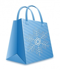 Vectorlib RF (Standard License): Christmas shopping bag. Blue striped shopping bag with snowflake. Christmas Sale