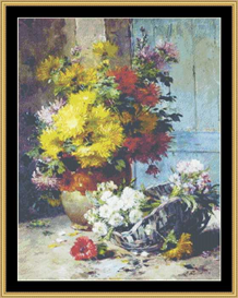 still life with summer flowers - cross stitch pattern download
