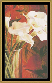 White Lilies On Red - Cross Stitch Pattern Download | Crafting | Cross-Stitch | Other