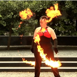 poi fire dancing lesson: 20110103 combo (advanced/intermediate)