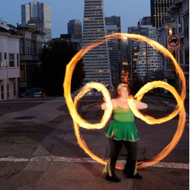 poi fire dancing lesson: underhand behind the back weave