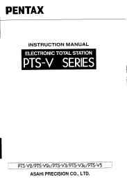 Pentax Electronic Total Station PTS-V Series Instruction Manual | Other Files | Documents and Forms