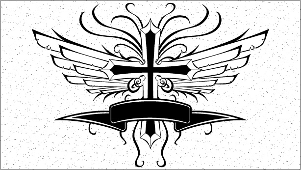 cross wings banner vector art