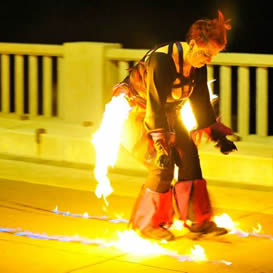 poi fire dancing lesson: split direction weave