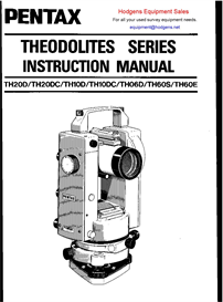 Pentax Theodolite Series Instruction Manual | Other Files | Documents and Forms