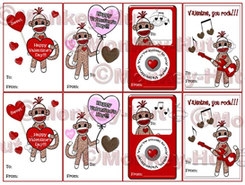 Printable Valentines - Eight Mini Cards - 2.5 x 3.5 - in PDF format - SOCK MONKEYS | Other Files | Arts and Crafts