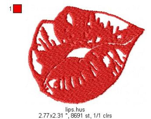 First Additional product image for - Lips Machine Embroidery File