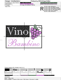 Vino Bambino Machine Embroidery File | Other Files | Arts and Crafts