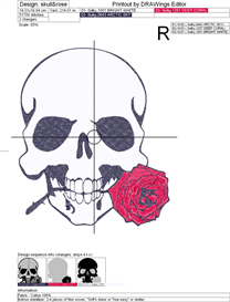 Skull and Rose Machine Embroidery File | Other Files | Arts and Crafts
