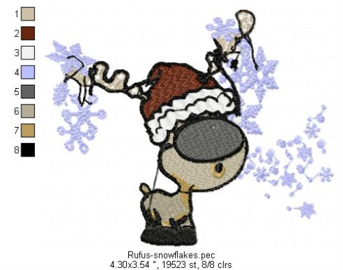 First Additional product image for - Rufus blowing snowflakes Machine Embroidery File