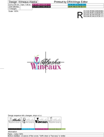 Wineaux-Alaska Machine Embroidery File | Other Files | Arts and Crafts