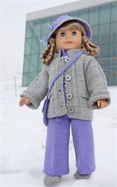 dollknittingpattern - 0017d kirsten - party suit, jacket, hat, hair band,