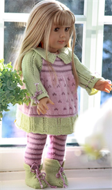 dollknittingpattern - 0054d leonora - dress, leggings, shoes and hat