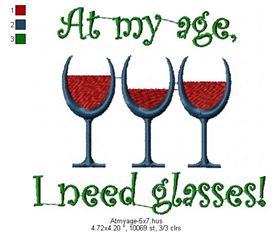 At my age, I need glasses machine embroidery file | Other Files | Arts and Crafts