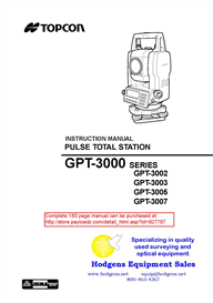 Topcon GPT3000 Series Instruction Manual | Other Files | Documents and Forms