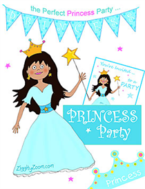 Download the Arts and Crafts Other Files | Princess Party Printables-Aqua Blue Princess