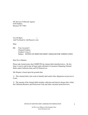 dispute letter to traffic ticket collection agency other files documents and forms