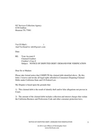 Dispute Letter to Traffic Ticket Collection Agency | Other Files | Documents and Forms