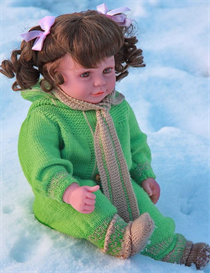 dollknittingpattern - 0055d ingerlise - one piece suit, hat, socks and scarf