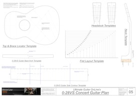 0-28VS 12-Fret Guitar Template Set | Other Files | Patterns and Templates