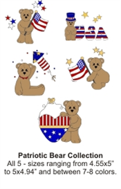 patriotic bears (.jef format) - set of 5 - machine embroidery file