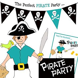 Download the Arts and Crafts Other Files | Pirate Birthday Party Pack- Black and Aqua  Pirate
