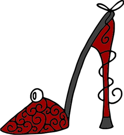 Red, curly Pump machine embroidery file | Other Files | Arts and Crafts
