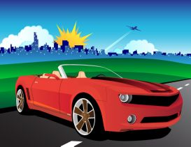 adobe illustrator eps file red convertible mustang class city background