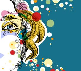 adobe illustrator eps file fashion colorful curly blonde face eye