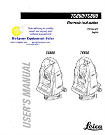 leica tc600 tc800 electronic total station user's manual